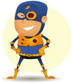Comic Superhero With Golden Armor — Stock Vector