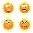 Cartoon Sun Icons Emotions — Stock Vector