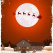 Christmas Red Landscape And Flying Santa — Stock Vector
