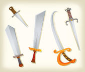 Vintage Swords, Knifes, broadsword And Saber Set — Stock Vector