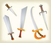 Vintage espadas, cuchillos, espada y sable — Vector de stock