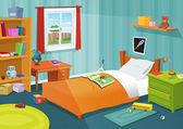 Un dormitorio de niño — Vector de stock