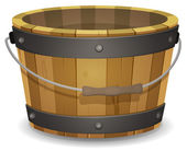 Cartoon Wood Bucket — Stock Vector