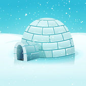 Cartoon Igloo In Polar Winter Landscape — Stock Vector
