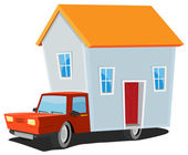Small House On Delivery Truck — Stock Vector