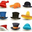 Stock Vector: Caps, Top Hats And Other Head Wear Set