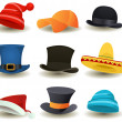 Caps, Top Hats And Other Head Wear Set — Stock Vector