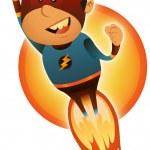 Comic Superhero Blasting Off — Stock Vector #22173347
