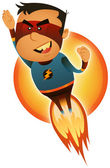 Comic Superhero Blasting Off — Stock Vector