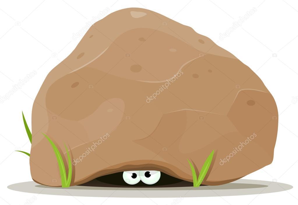 Dibujos animados de los ojos animales bajo piedra grande - Dibujos de piedras ...