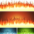 Stock Vector: Blaze, Burning Fire And Flames Set
