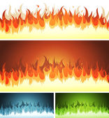 Blaze, Burning Fire And Flames Set — Stock Vector