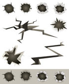 Bullet Holes, Cracks And Slashes Set — Stock Vector