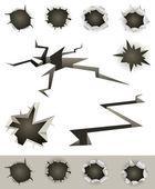 Bullet Holes, Cracks And Slashes Set — Stock Vector