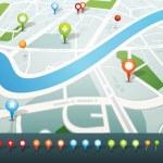 gps pimleri simgeleri ile sokak haritası — Stok Vektör #24511323