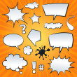 Comic Speech Bubbles And Splashes Set - Stock Vector
