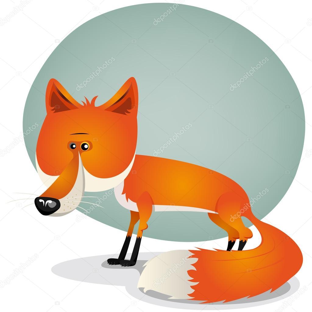 插图卡通可爱红色和橙色头发狐狸的性格与美丽的长尾巴— vector by