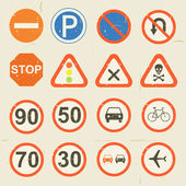 Road Signs Grunge Retro Set — Stock Vector