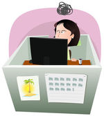 Life In The Cube - Woman — Stock Vector