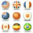 Stock Vector: Glossy Flags Icons Set
