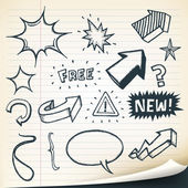 Arrows, Signs And Sketched Elements Set — Stock Vector