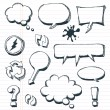 Arrows, Speech Bubbles And Doodle Elements Set — Stock Vector