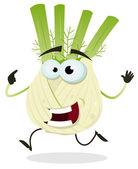 Cartoon Happy Fennel Character — Stock Vector