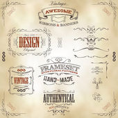 Hand Drawn Vintage Banners And Ribbons — Stock Vector