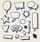 Doodle Speech Bubbles And Elements Set — Stock Vector