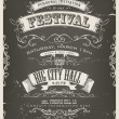 Vintage Invitation Poster On Chalkboard — Imagen vectorial