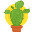 Little Cactus In Pot — Stock Vector