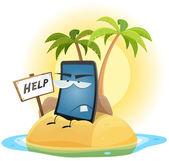 Mobile Phone Technology Shipwreck — Stock Vector