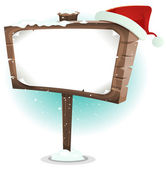 Santa Claus Hat On Wood Sign — Stock Vector