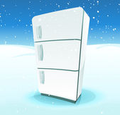Fridge Inside North Pole Landscape — Vecteur