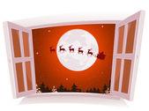 Christmas Landscape Outside The Window — Stock Vector