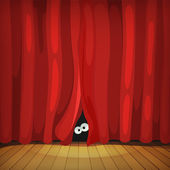 Eyes Behind Red Curtains On Wood Stage — Stock Vector