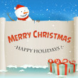 Постер, плакат: Santa Snowman Behind Christmas Parchment Background