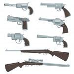 Cartoon Guns, Revolver And Rifles Set — Stock Vector #37640379