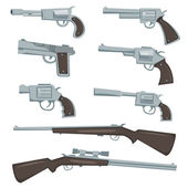 Cartoon Guns, Revolver And Rifles Set — Stock Vector