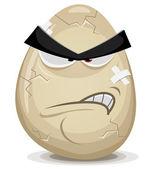 Angry Egg Character — Stock Vector