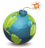 Earth Planet Warning Bomb — Stock Vector