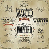 Wanted Vintage Western Banners — Stock Vector