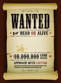 Wanted Vintage Poster On Parchment — Stock Vector