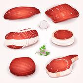 Beef Meat Set — Stock Vector