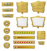 Cartoon Wood Elements For Ui Game — Stockvector
