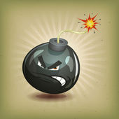 Vintage Angry Bomb Character — Stock Vector