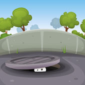 Eyes Spying From Manhole — Stock Vector