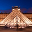 PARIS, FRANCE - SEPTEMBER 28: The Louvre Pyramid at dusk on September 28, 2012 in Paris. It serves as the main entrance to the Louvre Museum. Completed in 1989 and is a landmark of the city of Paris. — Stock Photo