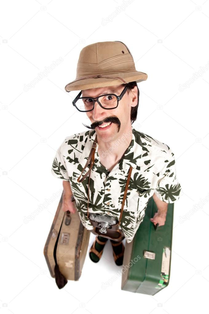 Funny safari tourist on white background — Stock Photo #13855419