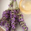 Lavender flowers and aromatherapy oil — Stock Photo